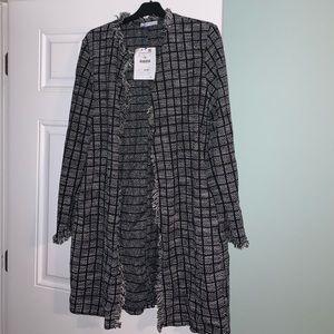 Zara long open tweed blazer w/fringe Large